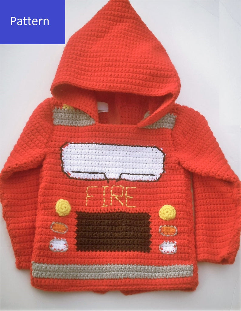 Fire Truck Toddler Hoodie Sweater Crochet Pattern My Fingers Fly