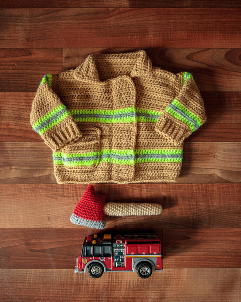 Baby Firefighter Sweater & Rattle Crochet Kit