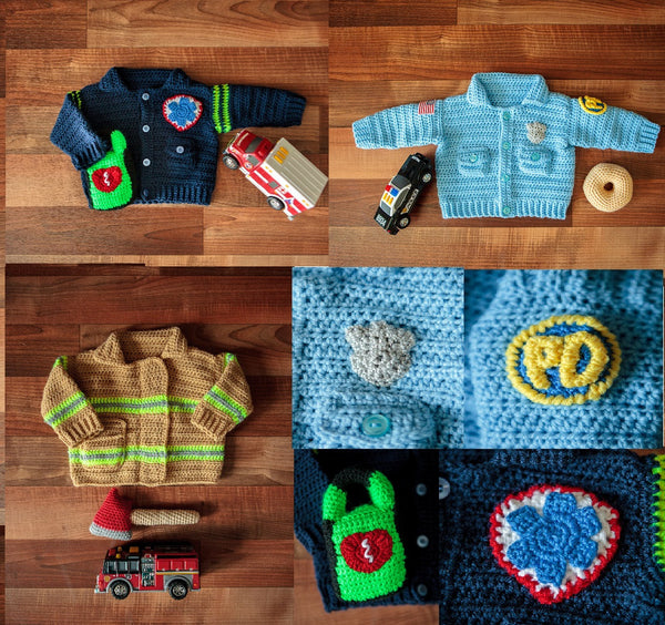 Baby Police Officer Sweater Crochet Pattern, Take Baby to Work Day Sweater Crochet Pattern