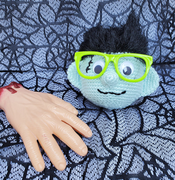 Frankenstein Monster Eyeglass Holder, Hand Crocheted