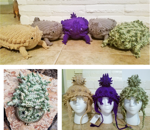 Horny Toad Crochet Patterns Ebook - Plush Toy, Earflap Hat, and Coin Purse