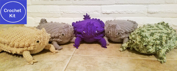 Texas Horny Toad Crochet Kit - Texas Horned Lizard Crochet Kit - Available in Beige, Gray, Purple or Camouflage