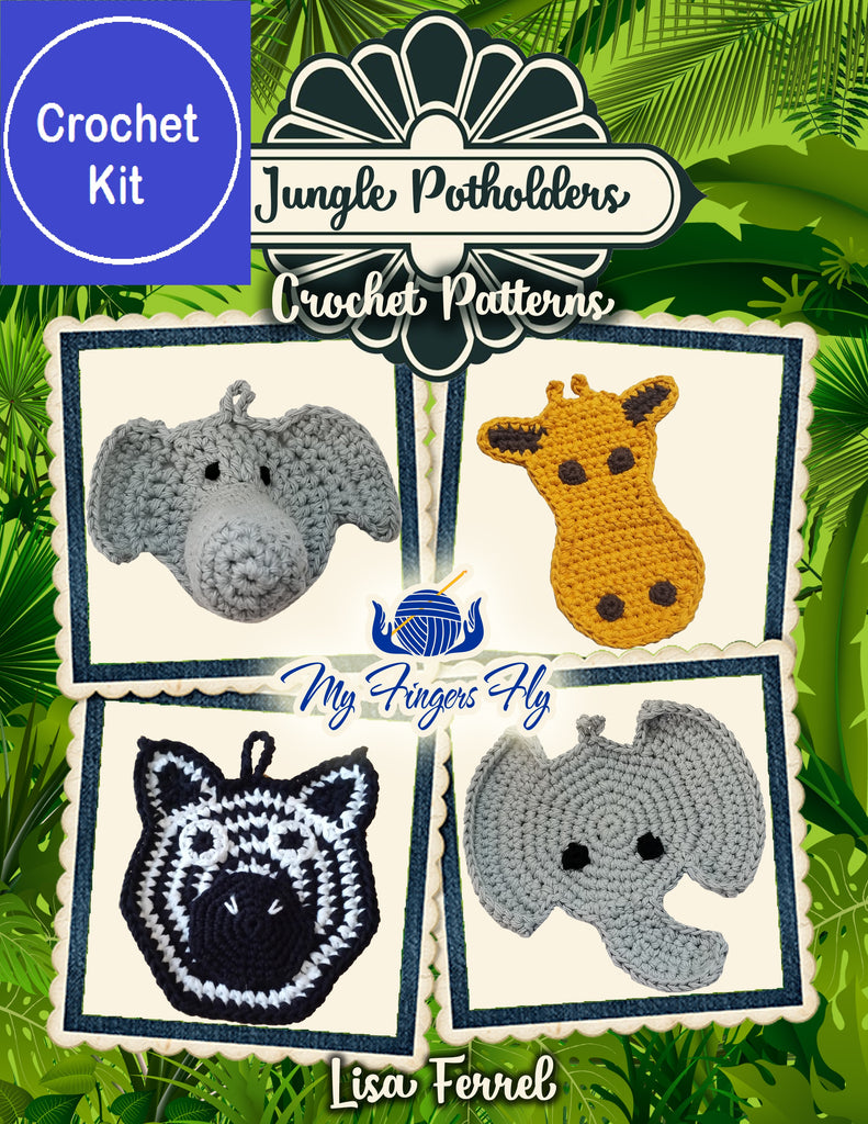 Jungle Potholders Crochet Kit with Cotton Yarn - Elephants, Zebra, Giraffe