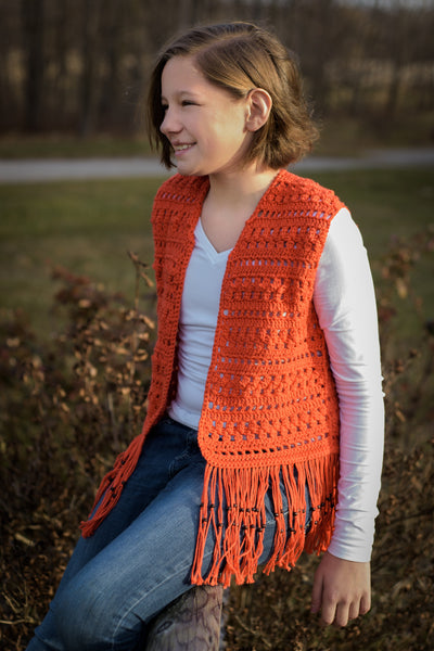Layla Vest Crochet Pattern, Girls' Sizes 10, 12, 14