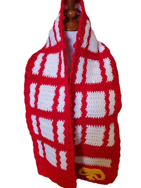 London Phone Booth Scarf, Handmade Crochet