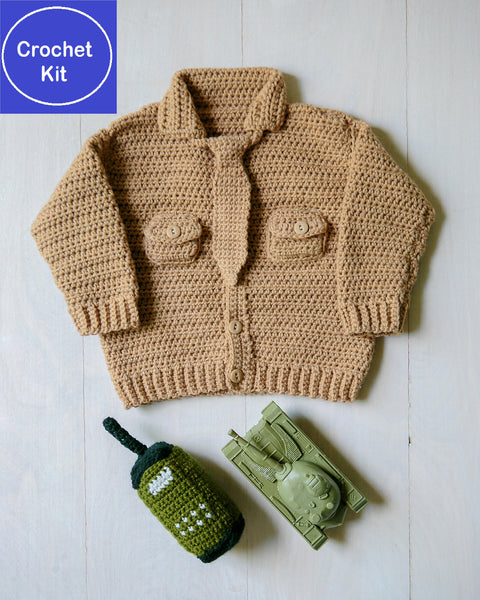 Crochet Kit for Baby Marine Uniform Sweater and Radio-Shaped Baby Rattle