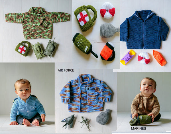 """Take Baby to Work Day"" Sweater Crochet Patterns Ebook - Military Edition, Instant PDF Download"