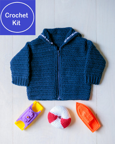 Crochet Kit for Baby Sailor Crackerjack Sweater and Lifesaver Baby Rattle