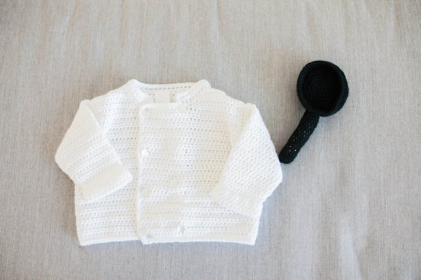 Crochet Kit for Baby Chef Sweater and Skillet-Shaped Baby Rattle