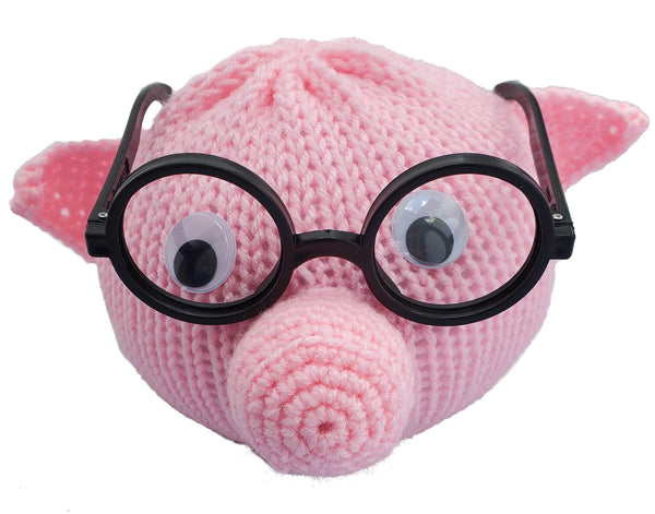 Pig Eyeglass Holder - Handmade with Polyester Yarn