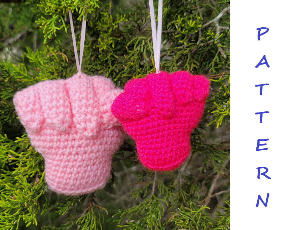 Pink Power Fist Christmas Tree Ornament Crochet Pattern