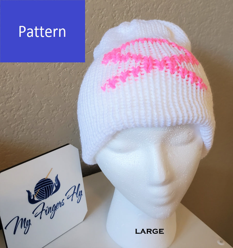 Pink Ribbon Chemo Hat Pattern for Addi King