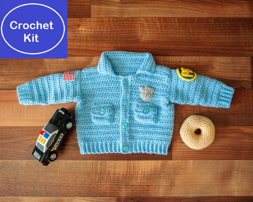 Baby Police Uniform Sweater plus Donut-Shaped Rattle Crochet Kit - size NB to 3 mth, 3-6 mth, or 9-12 mth