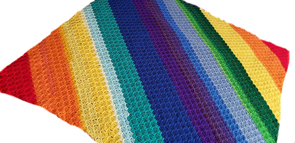 Rainbow C2C Blanket Crochet Pattern - Rainbow Baby Blanket Crochet Pattern