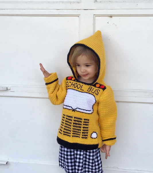 School Bus Toddler Hoodie Crochet Pattern - Sizes 2, 4, 6 - Back to School Hooded Sweater