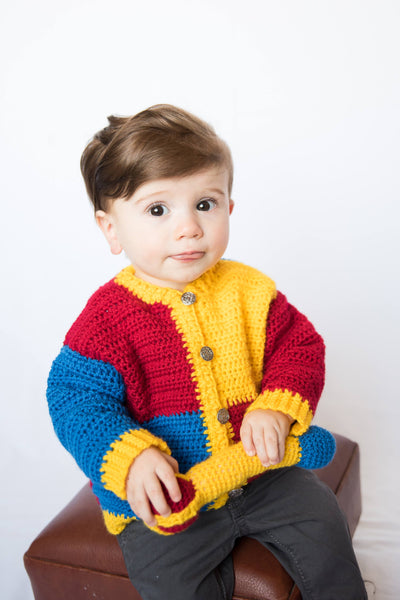 Royal Baby Sweater Crochet Pattern with Scepter Baby Rattle Crochet Pattern, Sizes NB-3M, 6M, 9M