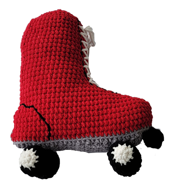 Roller Skate Pillow Crochet Pattern With Blanket Yarn