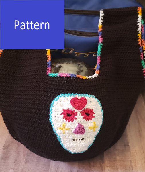 Sugar Skull Bowling Ball Bag Crochet Pattern or Market Bag Crochet Pattern