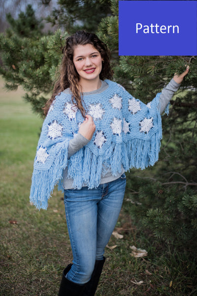 Girls' Snowflake Poncho Crochet Pattern, Girls' size 8/10, Girls' size 12/14, and Ladies' size Medium