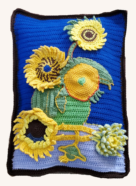 Sunflower Decorative Pillow Sham, Handmade Crochet - Van Gogh's Sunflowers Recreation in Crochet
