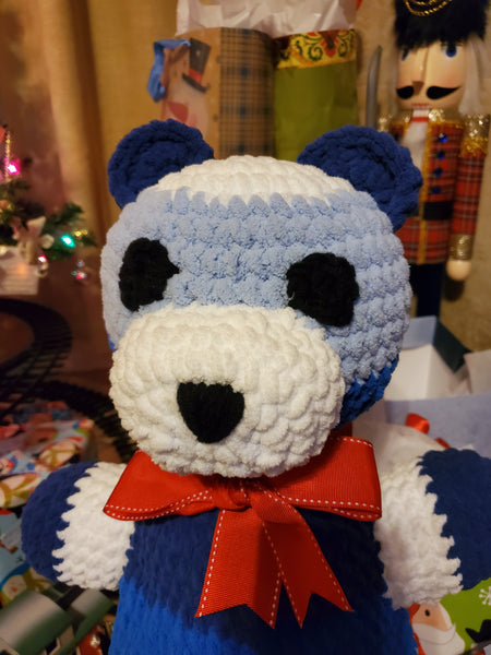 Blanket Yarn Teddy Bear Crochet Pattern - Christmas Bear Crochet Pattern