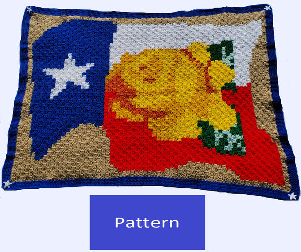 Yellow Rose of Texas Corner-to-Corner (C2C) Blanket Crochet Pattern