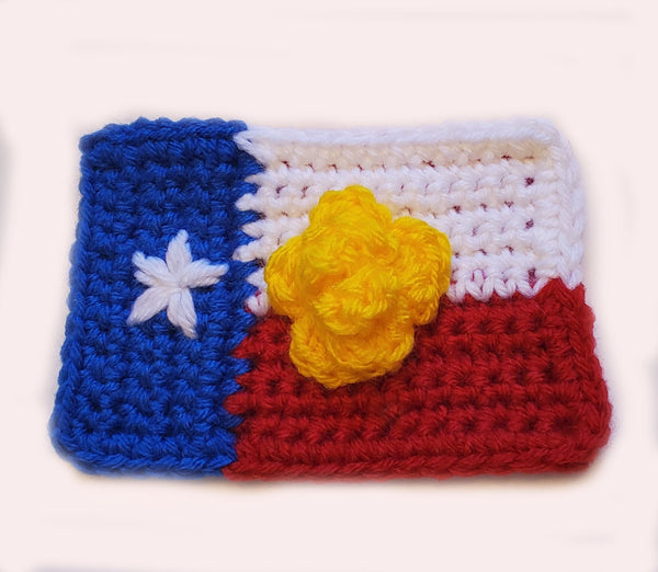 Texas Flag Christmas Tree Ornament Crochet Pattern - Yellow Rose of Texas Ornament Pattern