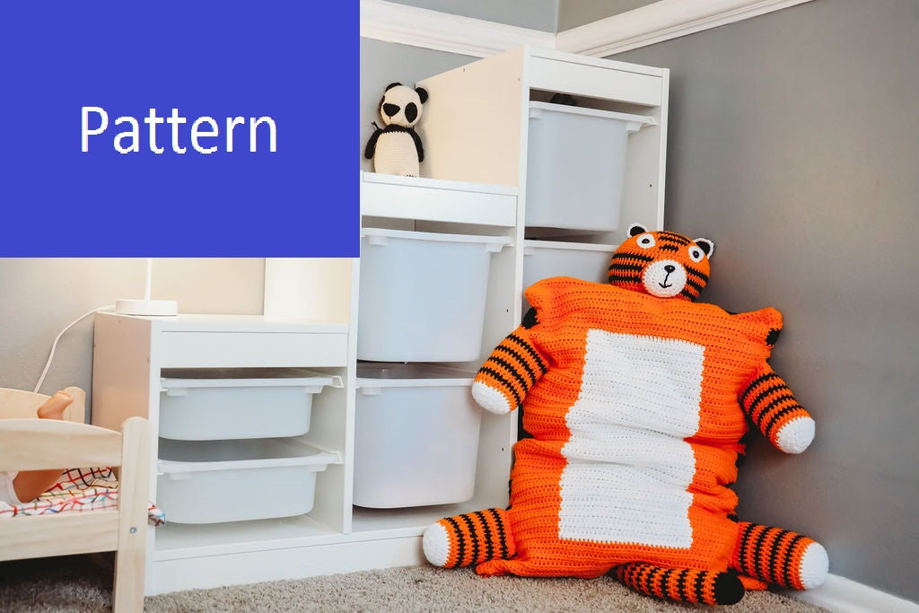 Tiger Pillow Sham Crochet Pattern, Instant PDF Download