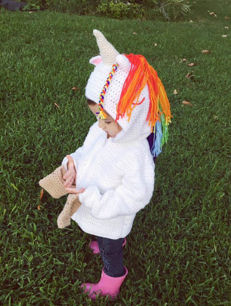 Unicorn Hoodie Crochet Kit - Sizes 4, 6, 8