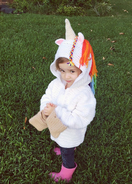 Unicorn Crochet Patterns Ebook - Children's Hoodie, Unicorn Plushie, Elicorn Plushie, Unicorn Bobblehead