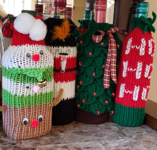 Christmas Totem Pole Wine Bag Addi Pro Pattern - Reindeer, Elf, Santa Claus