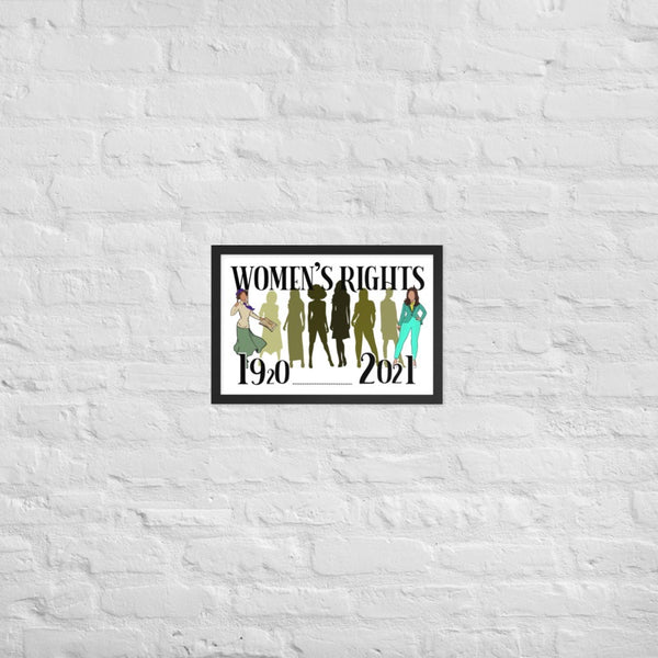 "History of Women's Rights 1920 - 2021 Framed poster 12"" x 18"""