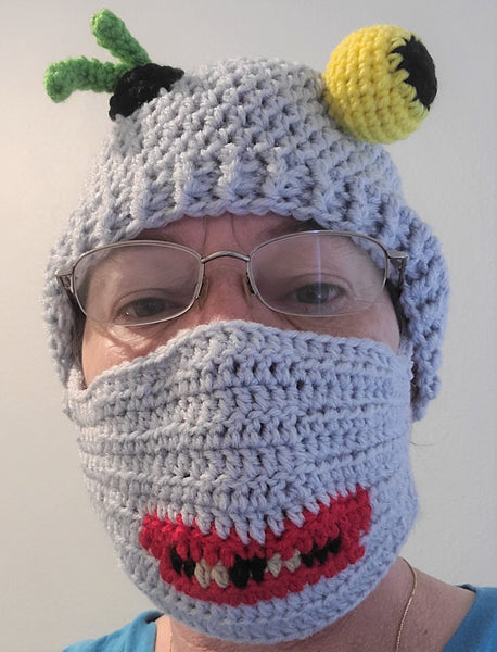 Zombie Messy Bun Hat Crochet Pattern with Snaggle-Tooth Face Mask Pattern