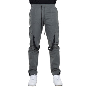 CHARCOAL-STRAP CARGO PANTS