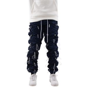 NAVY/WHITE-ACCORDION PANTS