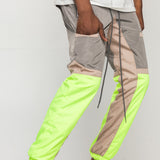 GREY/NEON YELLOW-COLOR BLOCK WINDBREAKER PANTS - EPTM.