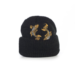 BLACK-GOLDEN KOI HEAVY WEIGHT BEANIE