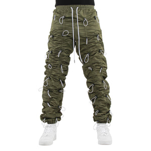 EPTM OLIVE/WHITE-ACCORDION PANTS - EPTM.