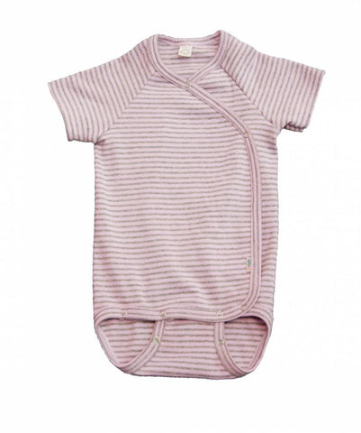 iobio Pink Gray Stripe Organic Cotton kimono baby bodysuit with adjustable poppers - Special Little Shop