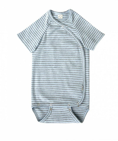 iobio Blue Gray Stripe Organic Cotton kimono baby bodysuit with adjustable poppers - Special Little Shop