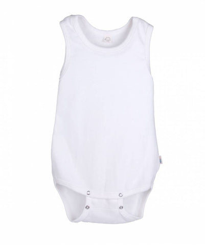 iobio Ecru Organic Cotton sleeveless baby bodysuit with adjustable poppers - Special Little Shop