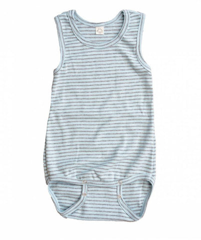 iobio Blue Gray Stripe Organic Cotton sleeveless baby bodysuit with adjustable poppers - Special Little Shop