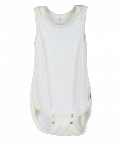 iobio Organic Wool and Silk sleeveless baby bodysuit with adjustable poppers - Special Little Shop