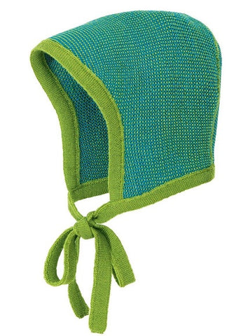 57e57ba282f ... Disana Merino Wool Two Colour Baby Bonnet with strings in 8 colours