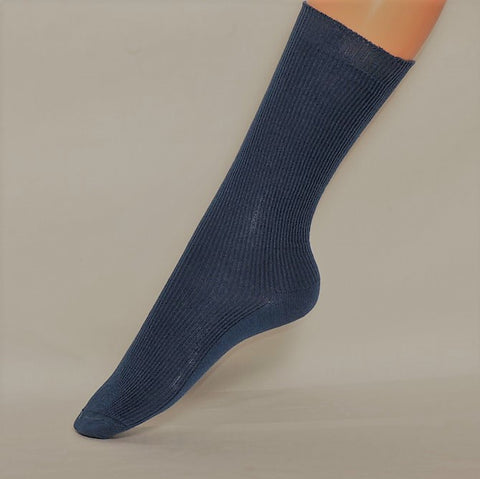 Organic cotton knee high children's socks. In Red, Natural & Denim.