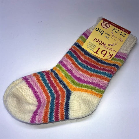 Organic wool girl's socks by Hirsch Natur. Mutlicouloured stripe. FREE DELIVERY