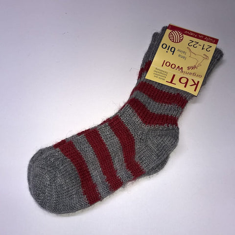Organic wool boy's or girl's striped socks by Hirsch Natur. Gray/Red.