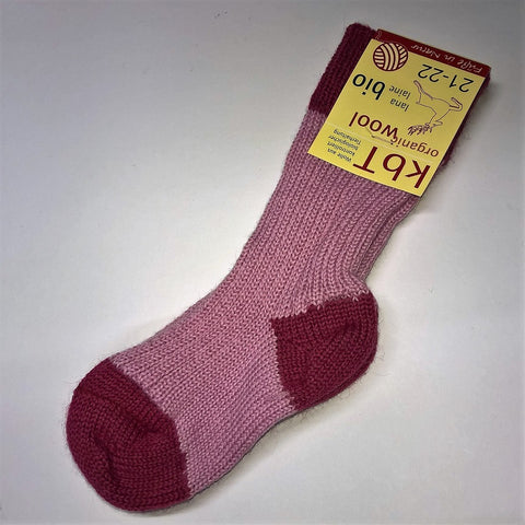 Organic wool boy's or girl's striped socks by Hirsch Natur. Red/Pink.