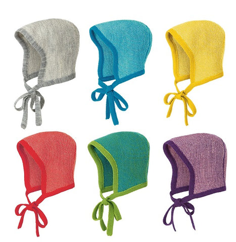 Disana Merino Wool Two Colour Baby Bonnet with strings in 8 colours