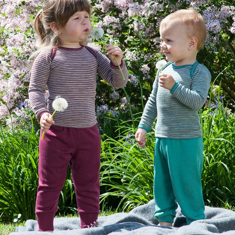 Engel baby trousers/joggers (merino wool/silk). Orchid Burgundy, Teal Ice Blue, Gray